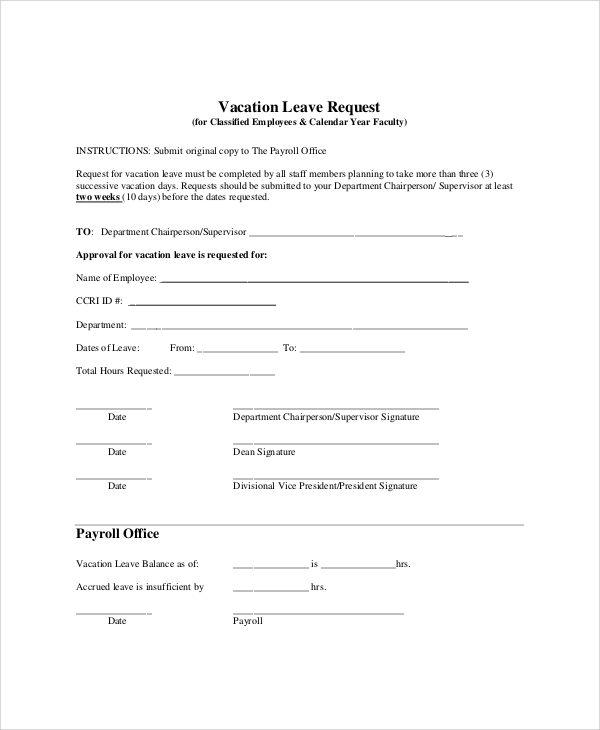 Sample Vacation Request Form How To Write A Vacation Request Letter
