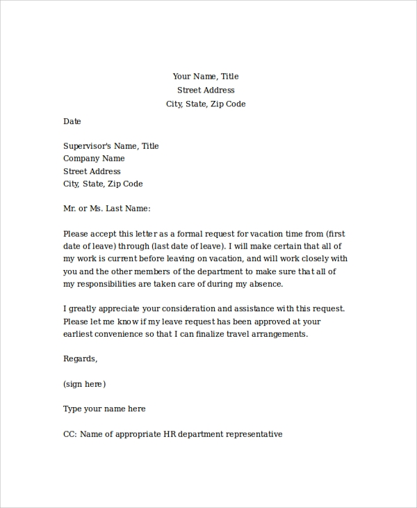 Sample Vacation Leave Request Letter To Manager. Leave Letter To ...