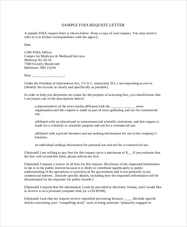 Formal Letter Format Requesting Information