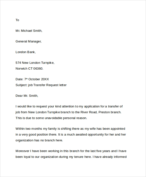 letter of request to transfer to another location 9 sample transfer request letters pdf word apple 29308 | Job Transfer Request Letter