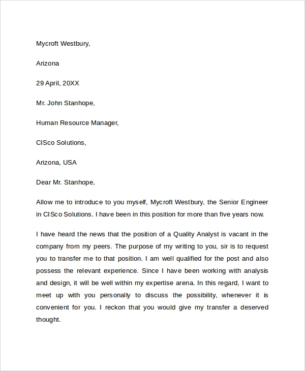 Sample Transfer Request Letter   Documents In Pdf Word