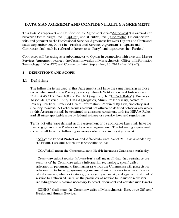 Sample Personal Confidentiality Agreement   Documents In Pdf Word