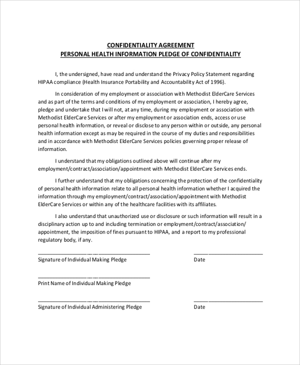 Sample Personal Confidentiality Agreement 7 Documents in PDF Word – Confidentiality Statement