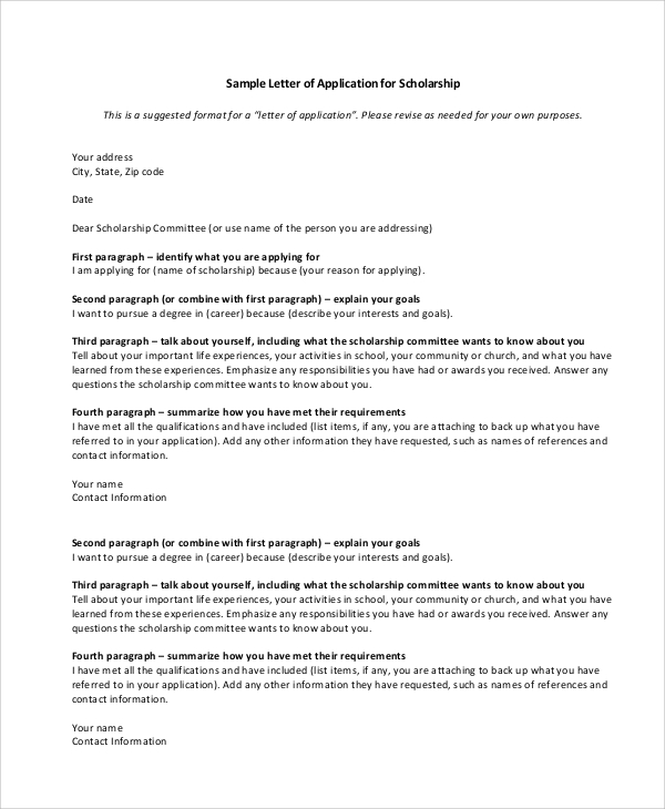 Sample Scholarship Application Letter   Documents In Pdf Word