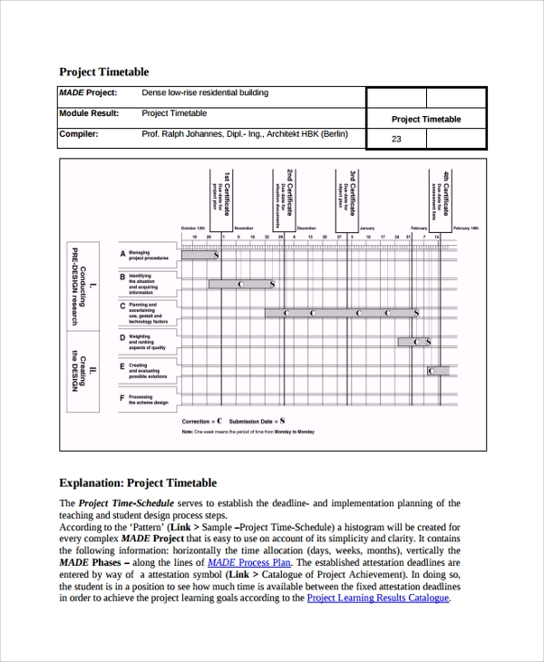 Sample Project Timetable   Documents In Pdf