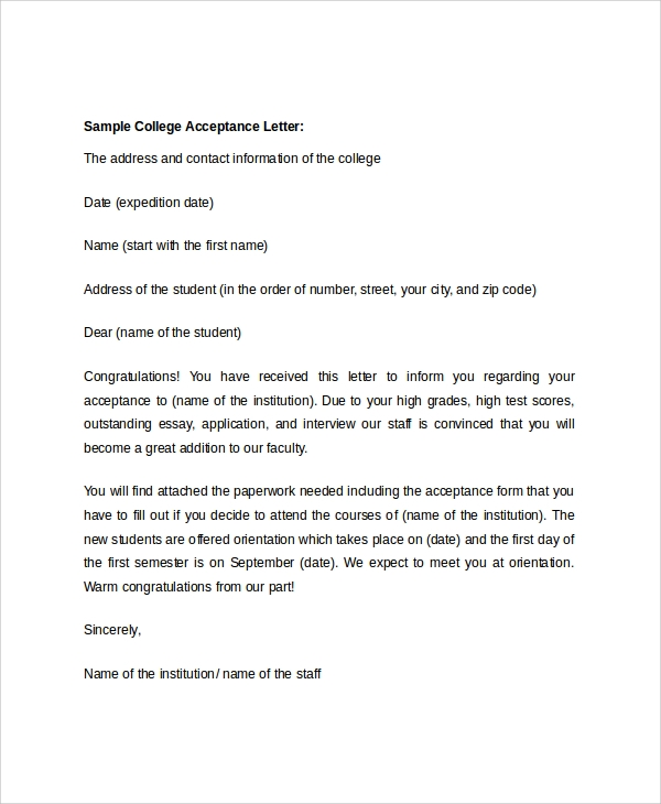 8+ Sample College Acceptance Letters   PDF, Word