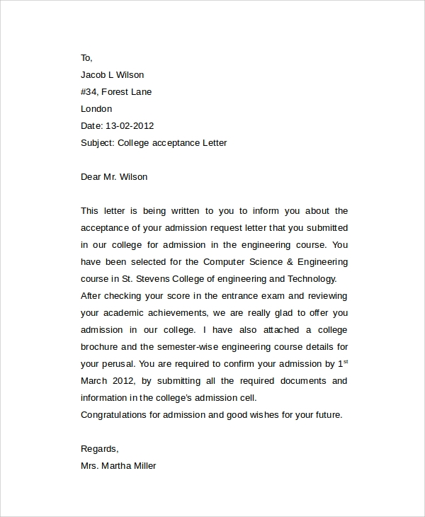 How to write an admission letter for college