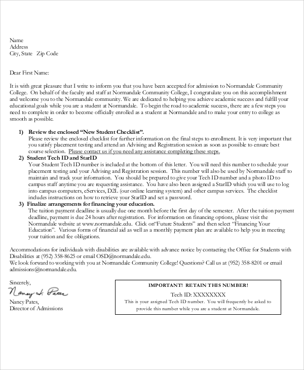 Sample College Acceptance Letter - 7+ Documents In Pdf, Word