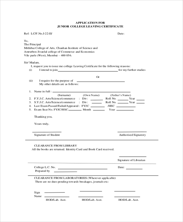 college leaving certificate application letter