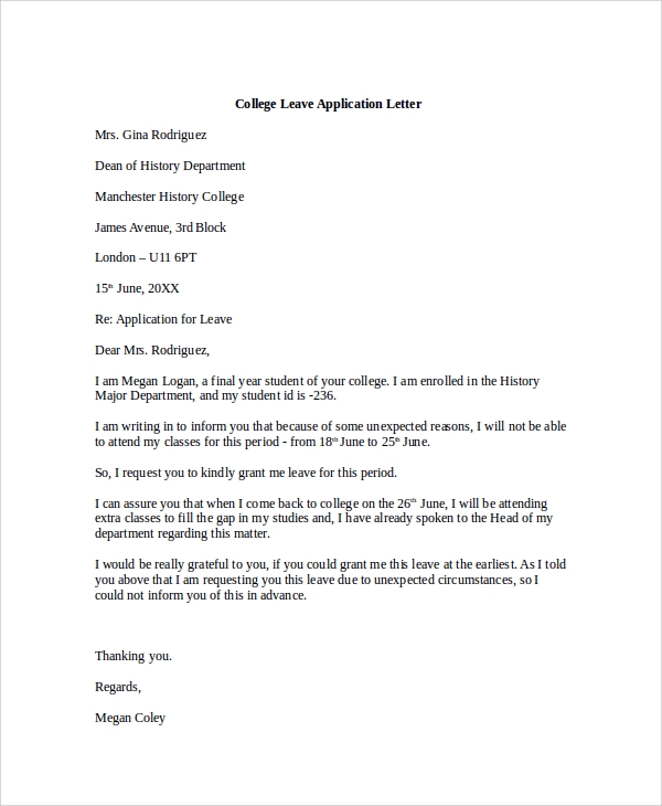 college leave application letter