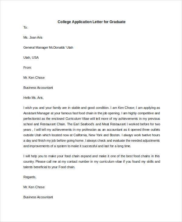 college application letter for graduate