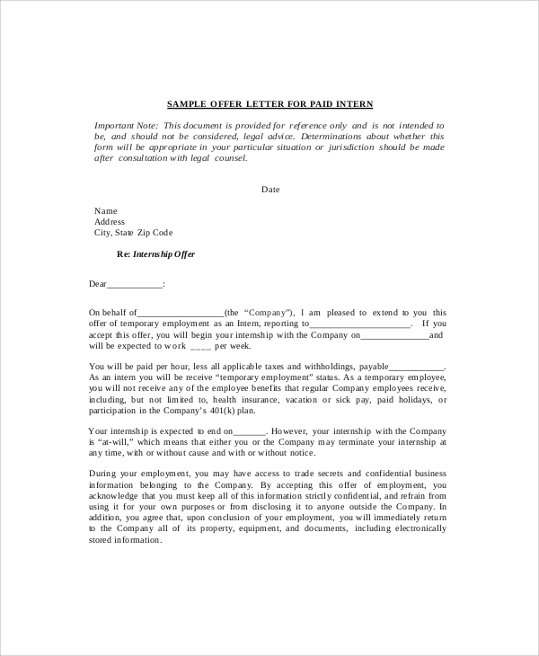 request letter for internship template