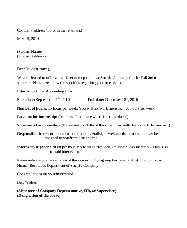 Sample Internship Acceptance Letter - 6+ Documents in PDF, Word