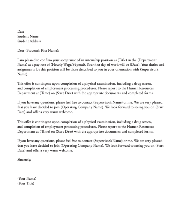 Sample Internship Offer Letter  Acceptance Of Offer