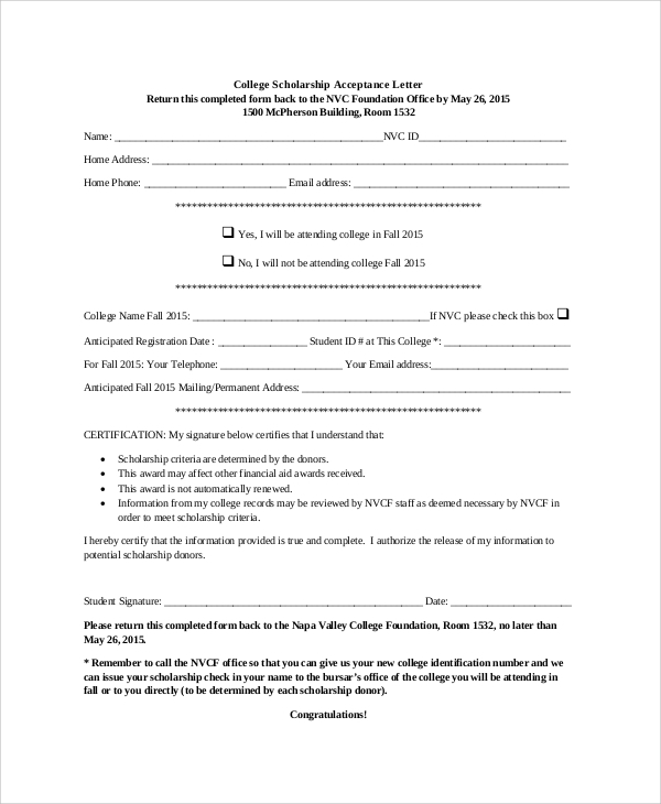 Sample Scholarship Acceptance Letter   Documents In Pdf Word