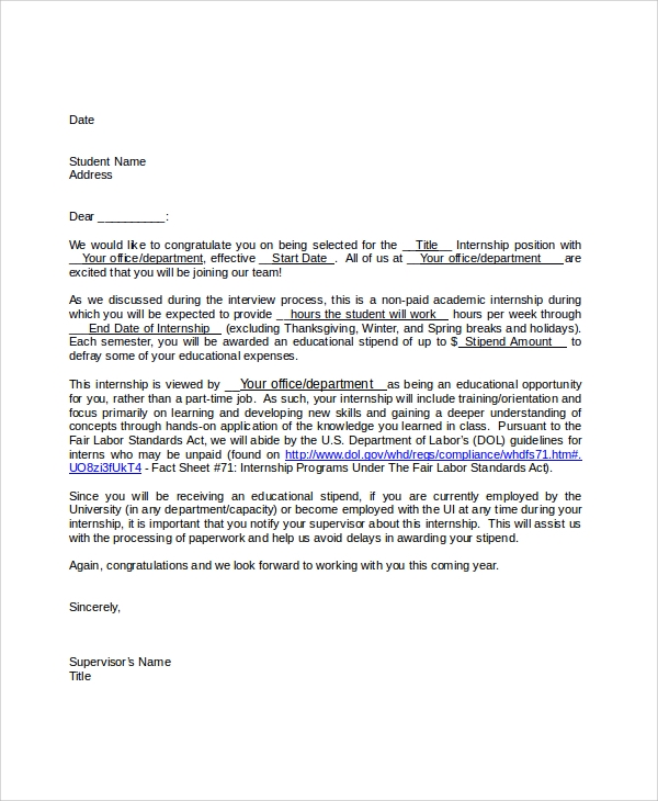 sle offer letter for unpaid internship docoments ojazlink