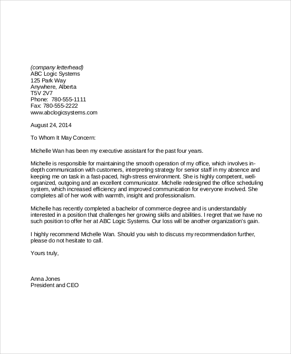 Reference letter for employee made redundant examples of personal letters recommendation for employment altavistaventures Images