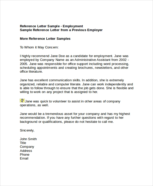 Sample Employment Reference Letter Doc Sample Employment Reference Letter 6 Documents In PDF Word