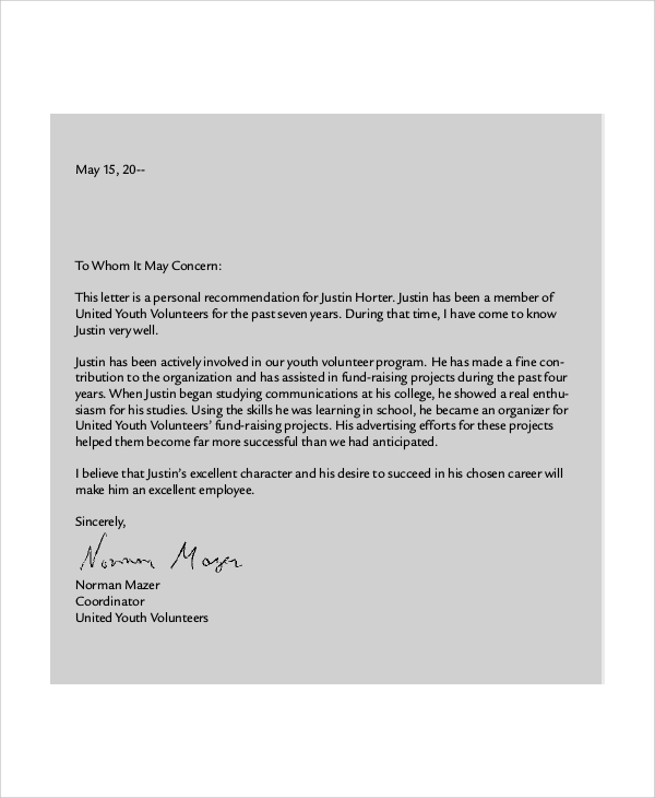 Job Recommendation Letter Sample From Employer Pdf 9 Job