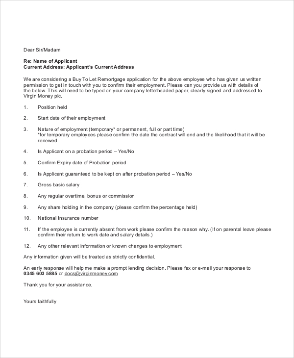 Sample Employment Reference Letter 6 Documents In PDF Word – Employment Reference Letter