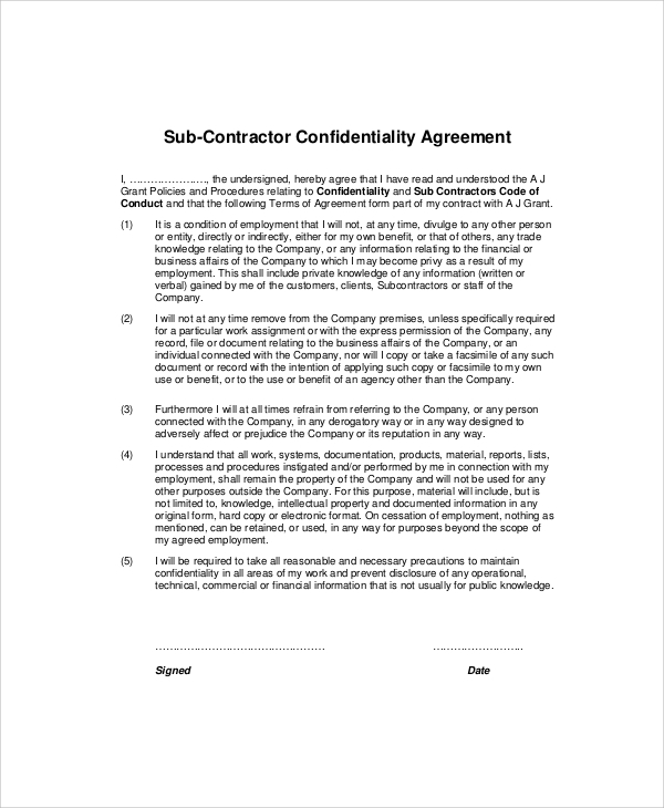 Sample Contractor Confidentiality Agreement   Documents In Pdf Word