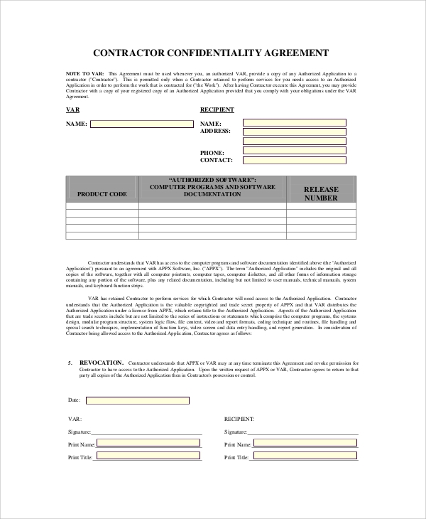 Sample Contractor Confidentiality Agreement - 7+ Documents In Pdf
