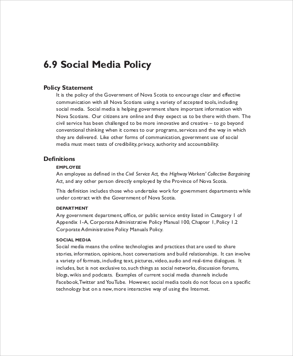 Sample Social Media Policy   Documents In Pdf Word