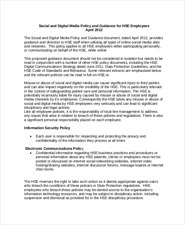Sample Social Media Policy 9 Documents In Pdf Word