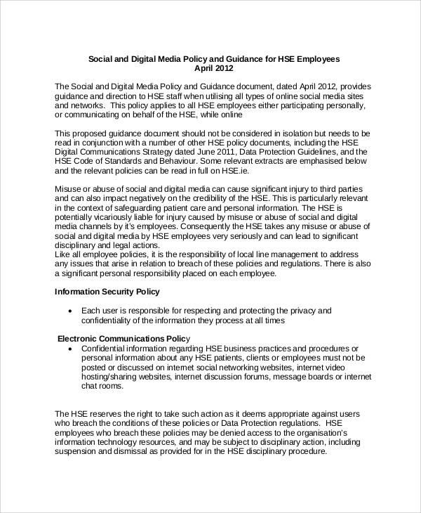 digital social media policy