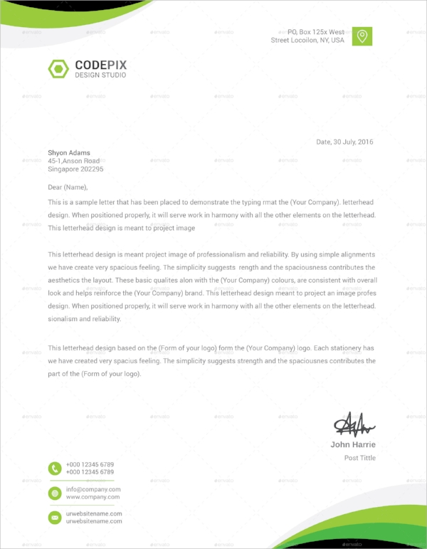 Sample Corporate Letterheads  Psd