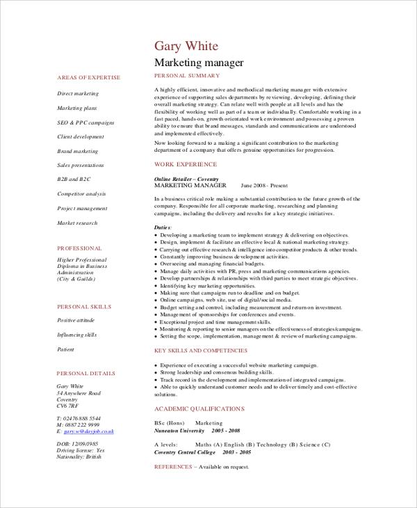 marketing professional cv sample