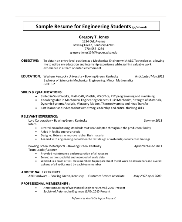 professional student resume