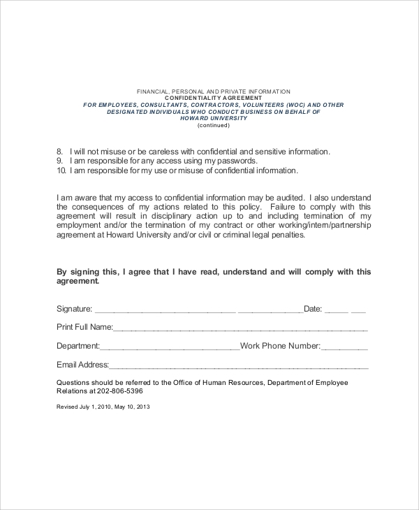 7 sample hr confidentiality agreements sample templates for Privacy contract template
