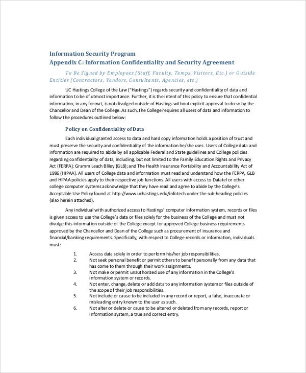 hr data confidentiality agreement