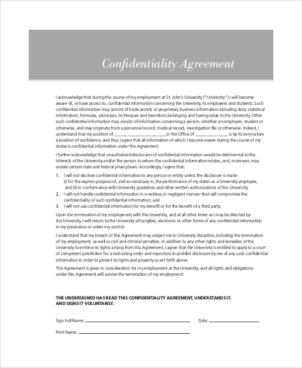 hr investigation confidentiality agreement