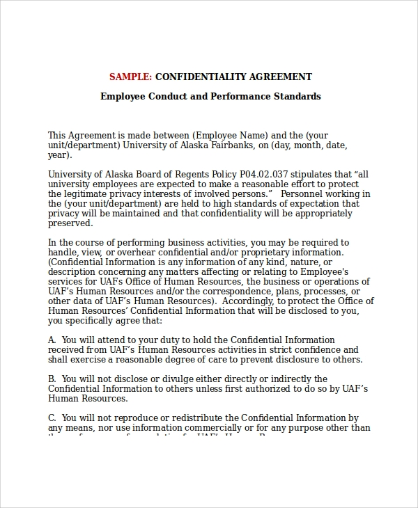 Sample Hr Confidentiality Agreement   Documents In Pdf Word