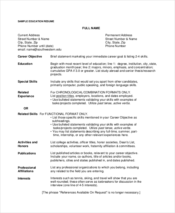 Teacher Resume Objective Resume Career Objective 7 Documents In