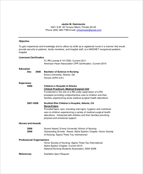 sample nursing resume 7 documents in pdf word