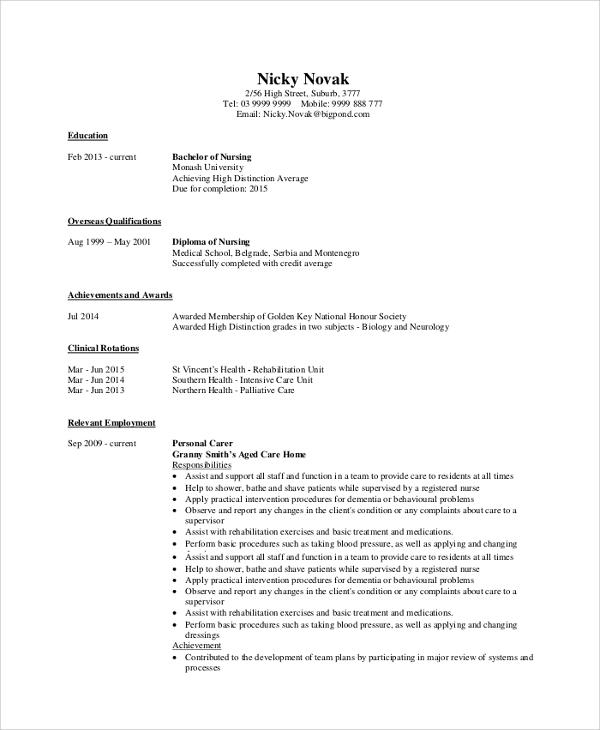 8 Sample Nursing Resumes Sample Templates