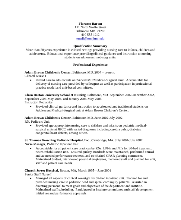 8 sample nursing resumes sample templates