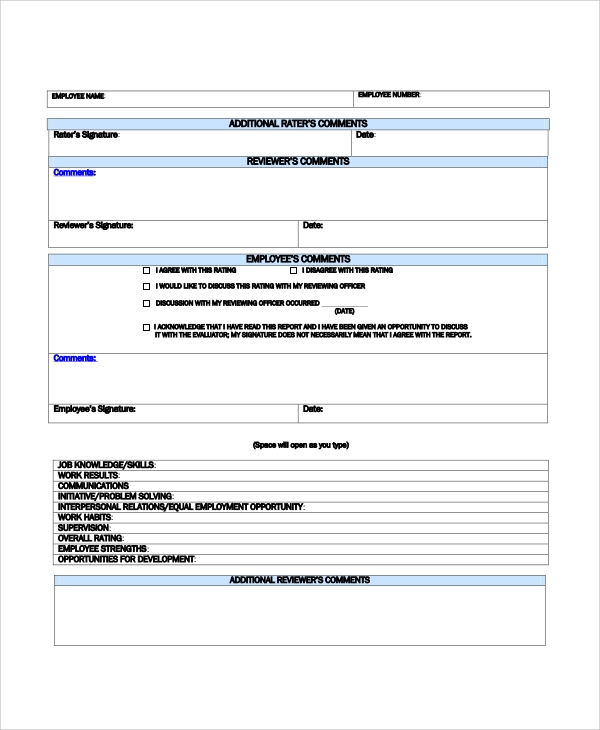 Sample Performance Review   Documents In Pdf Word