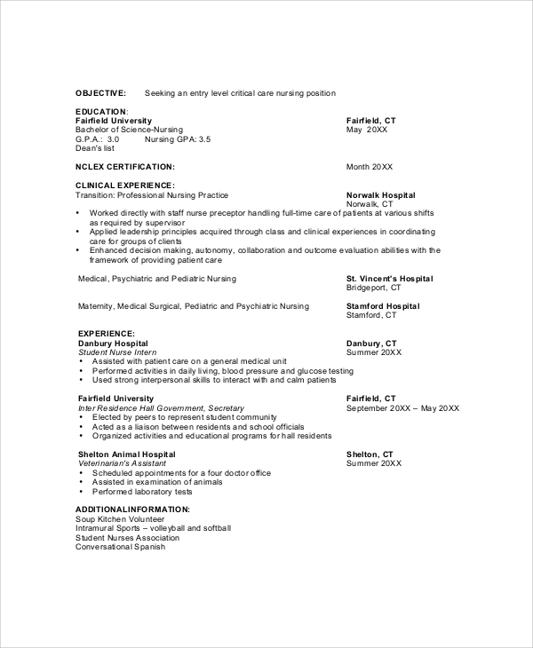8 Nursing Resume Objectives Sample Templates
