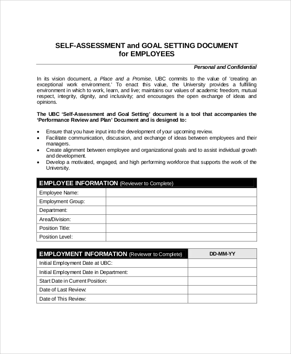 Self-essment-Performance-Review-Sample Sample Employee Performance Goals Examples on evaluation form, appraisal wording example, write up, appreciation letter, business perspective, write up template,