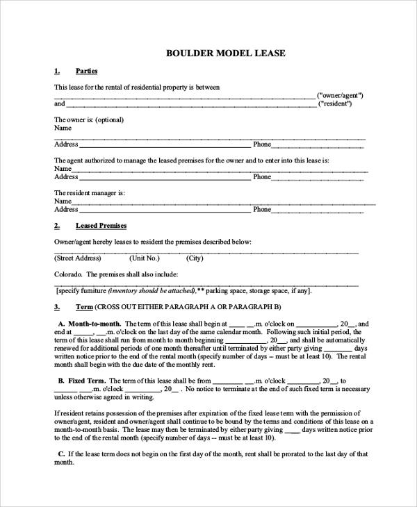 boulder model rental lease agreement