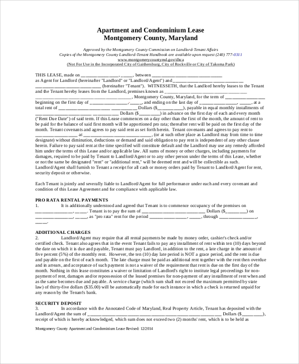 apartment rental lease agreement