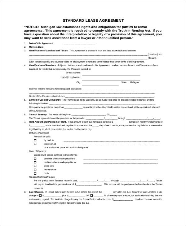 standard rental lease agreement