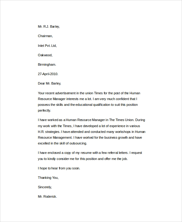 cover letter for employement