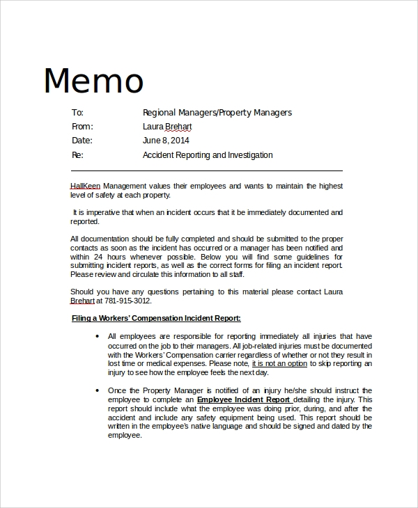 13 sample professional memos sample templates for Safety memo template