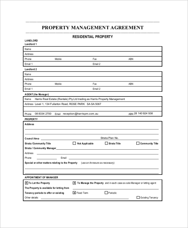 Sample Property Management Agreement - 7+ Documents in PDF, Word