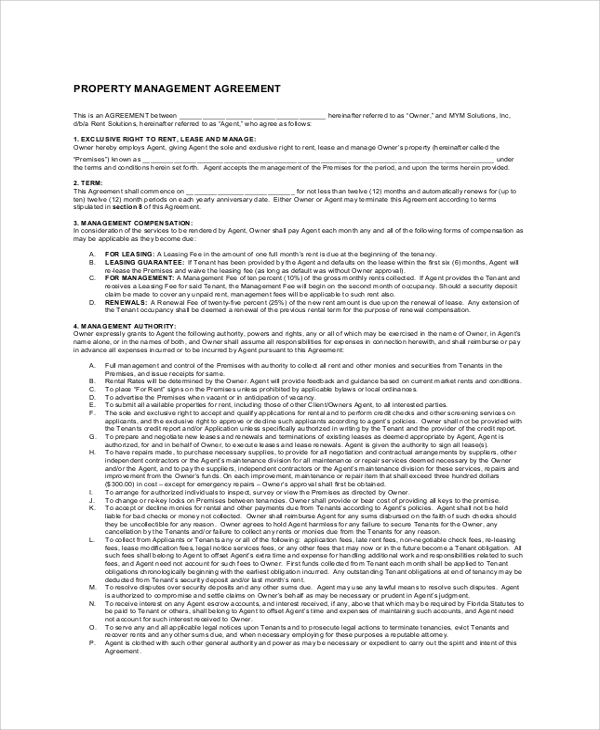 Sample Property Management Agreement   Documents In Pdf Word
